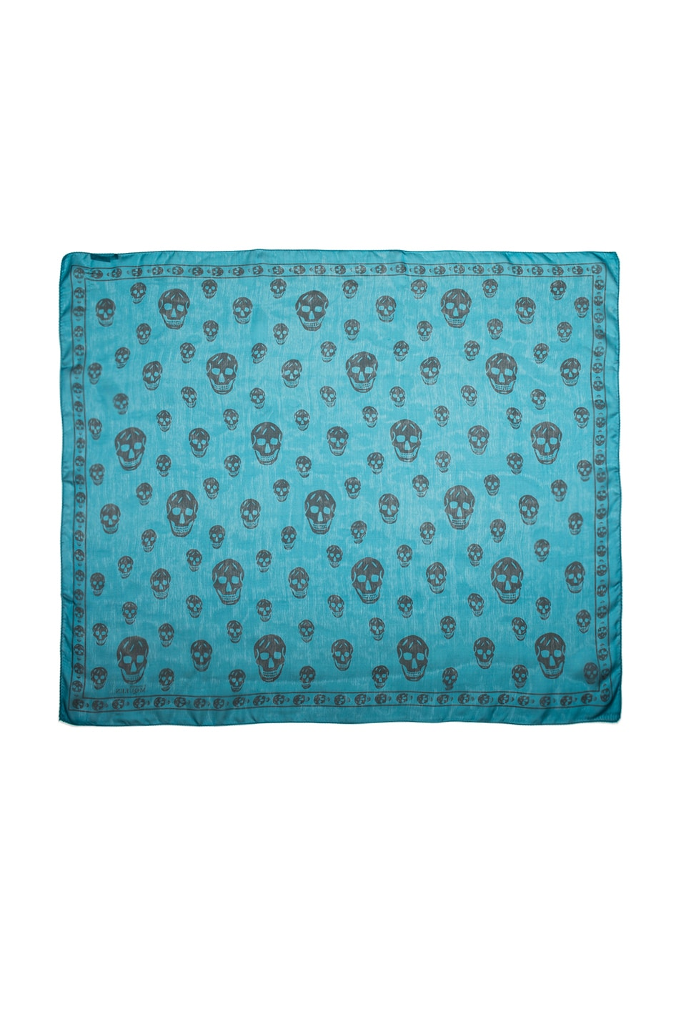 Image 2 of Alexander McQueen Skull Chiffon Scarf in Petroleum & Blue