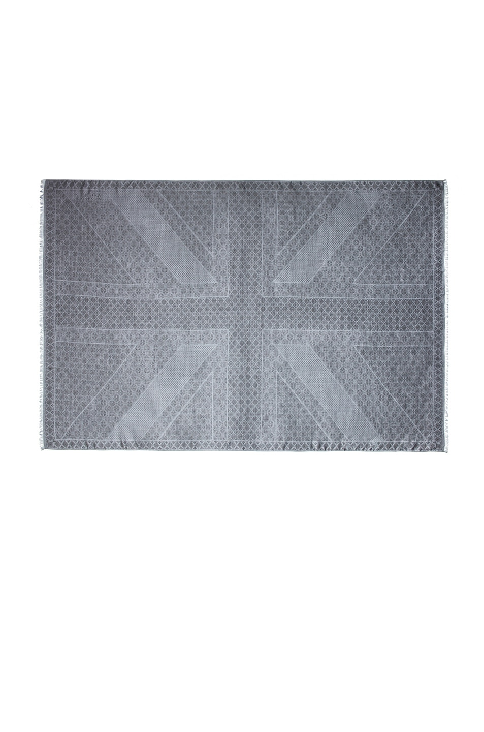 Image 2 of Alexander McQueen Union Jack Wool & Silk Scarf in Flannel & Black