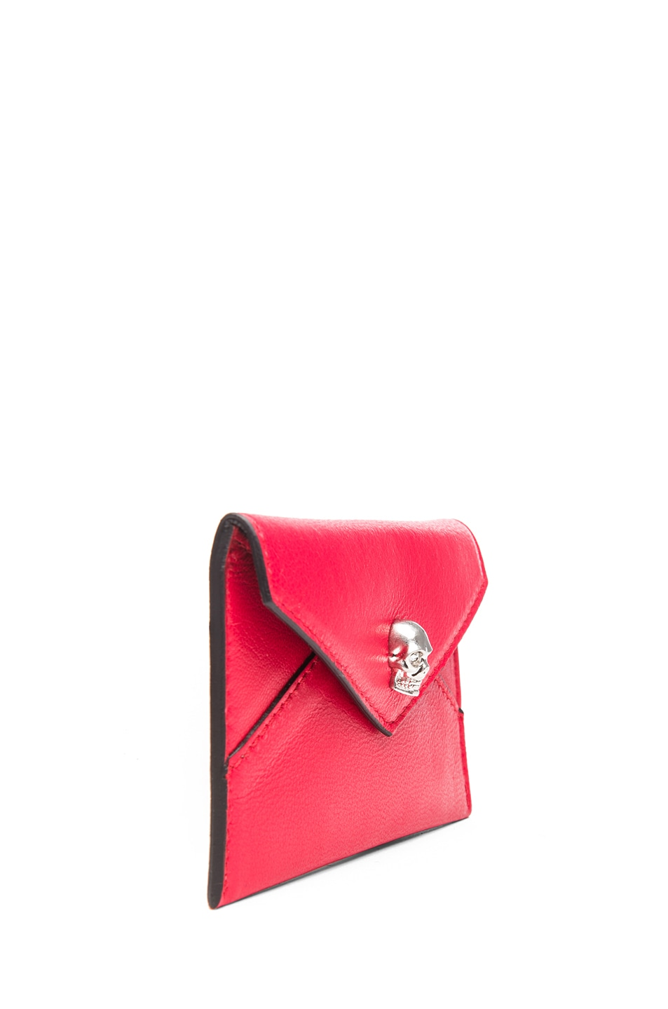 Image 3 of Alexander McQueen Envelope Card Holder in Shiny Red