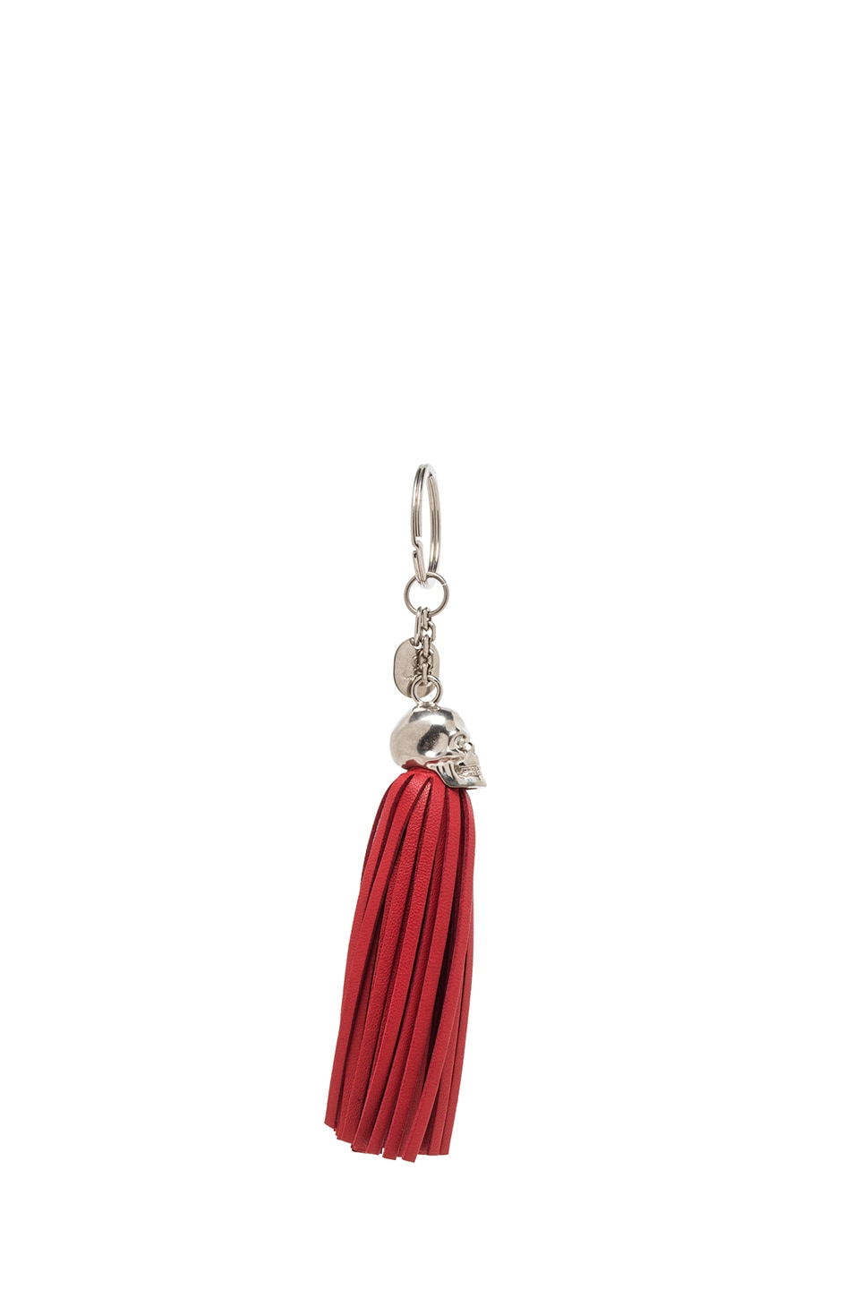 Image 2 of Alexander McQueen Leather Tassel Key Ring in Shiny Red