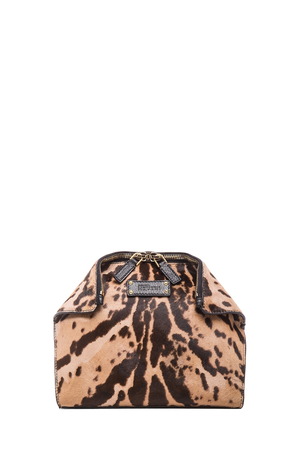 Image 1 of Alexander McQueen De Manta Leopard Print Cosmetic Case in Black & Tan