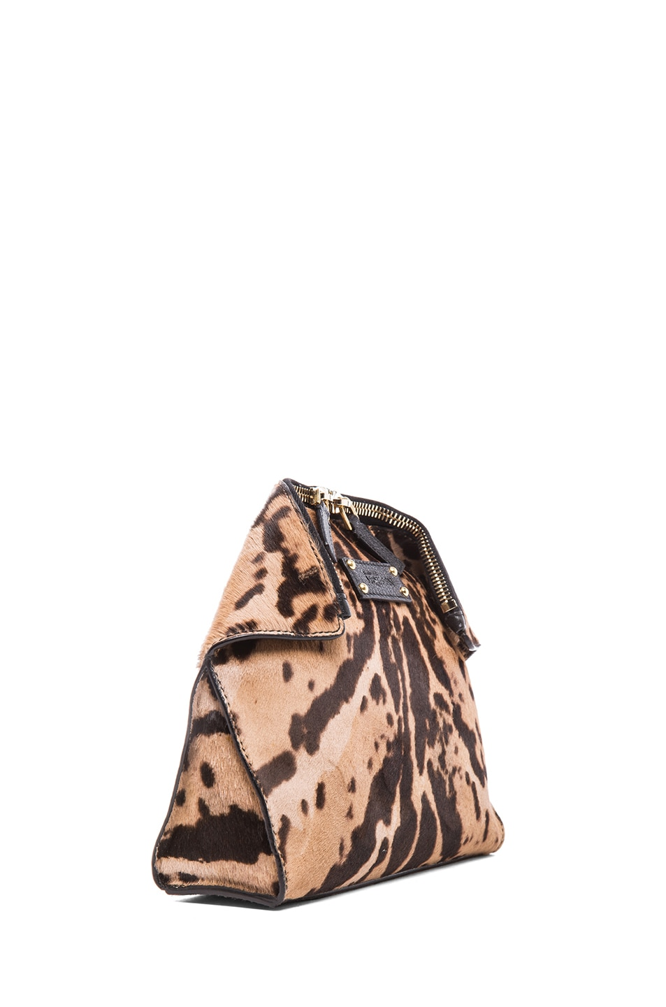 Image 3 of Alexander McQueen De Manta Leopard Print Cosmetic Case in Black & Tan