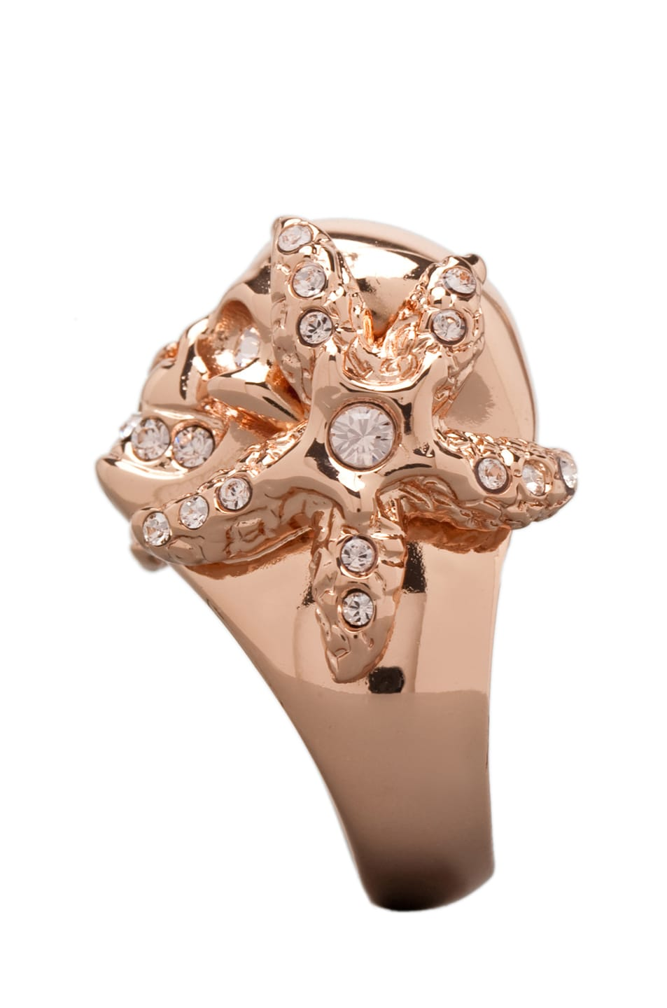 Image 2 of Alexander McQueen Skull Ring in Rosegold