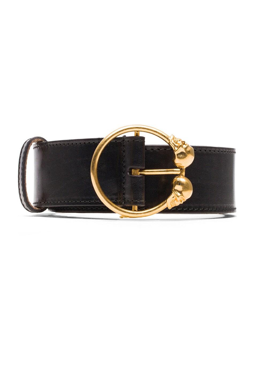 mcqueen skull leather hip belt in black