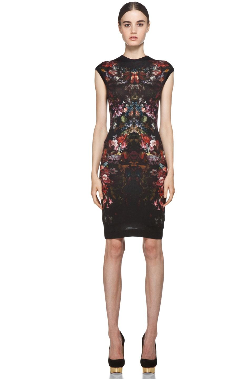 Image 1 of Alexander McQueen Cap Sleeve Floral Pencil Dress in Black