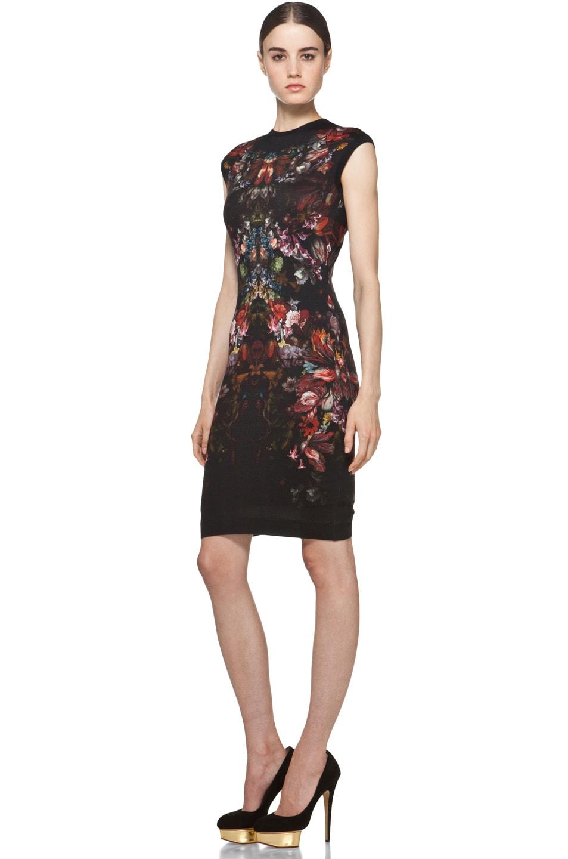 Image 2 of Alexander McQueen Cap Sleeve Floral Pencil Dress in Black