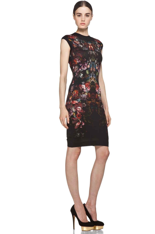 Image 3 of Alexander McQueen Cap Sleeve Floral Pencil Dress in Black