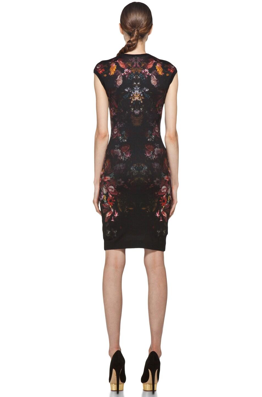 Image 4 of Alexander McQueen Cap Sleeve Floral Pencil Dress in Black