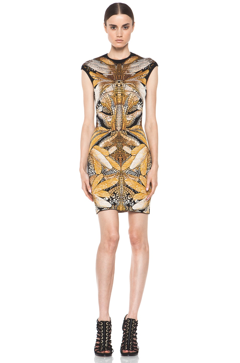 Image 1 of Alexander McQueen Dragonfly Jacquard Mini Dress in Black & Yellow