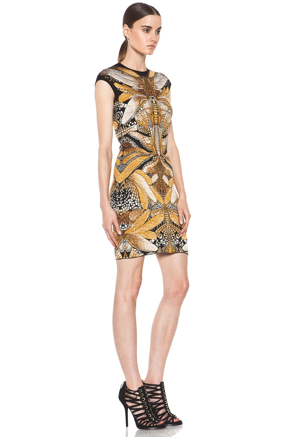 Image 3 of Alexander McQueen Dragonfly Jacquard Mini Dress in Black & Yellow