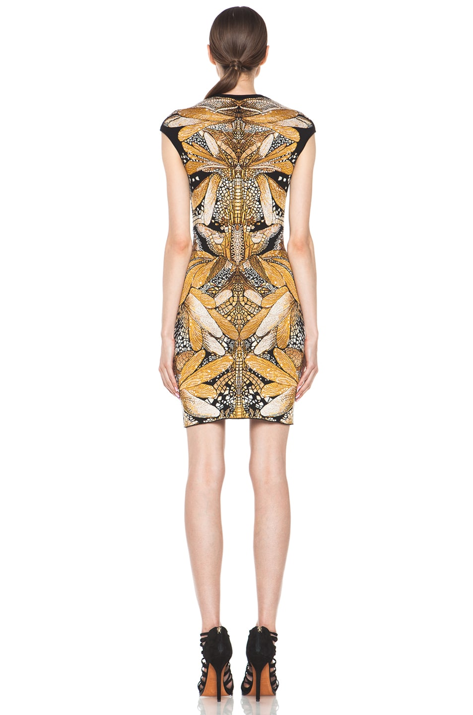 Image 4 of Alexander McQueen Dragonfly Jacquard Mini Dress in Black & Yellow