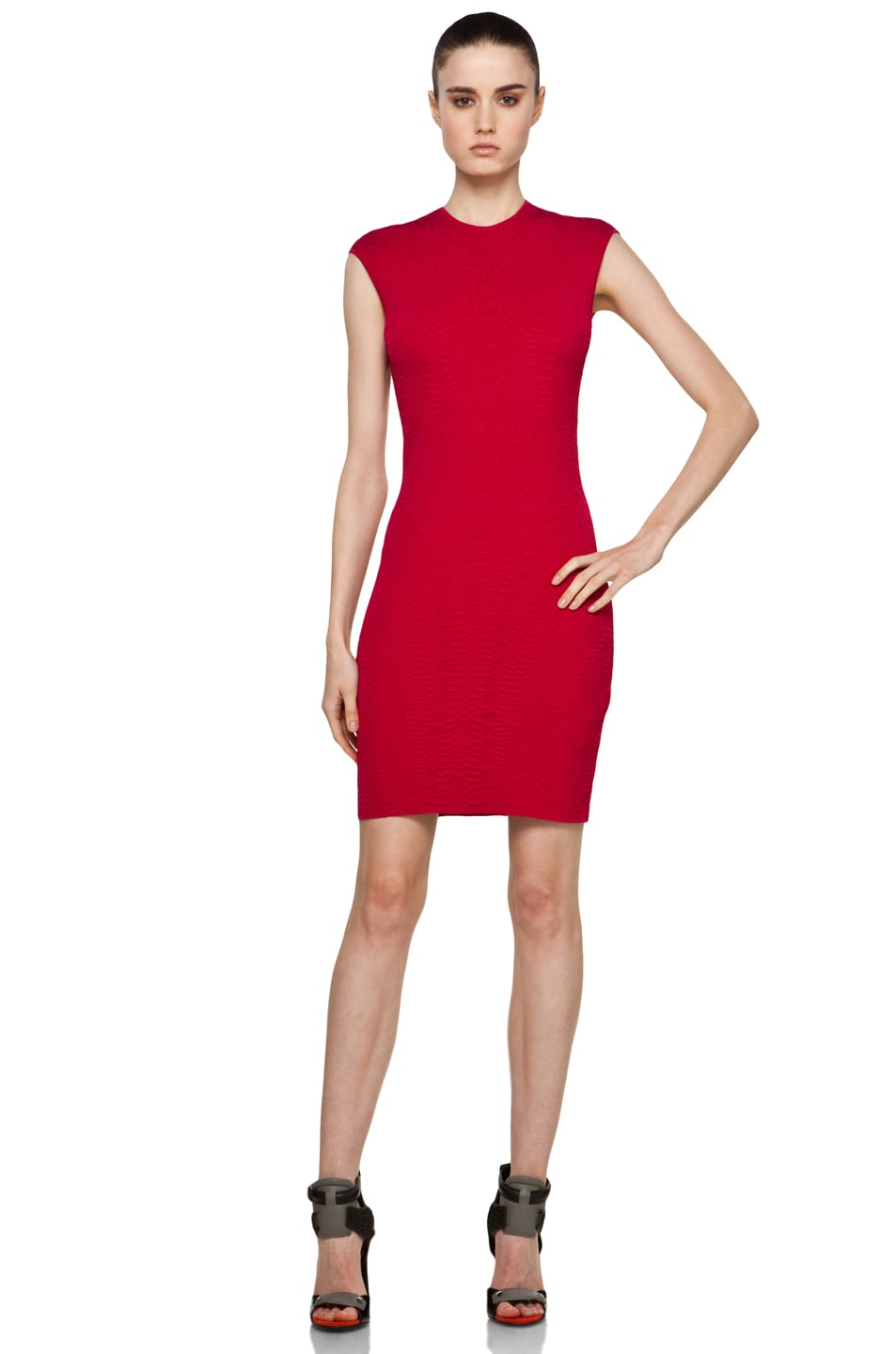 Image 1 of Alexander McQueen Cap Sleeve Mini Dress in Raspberry