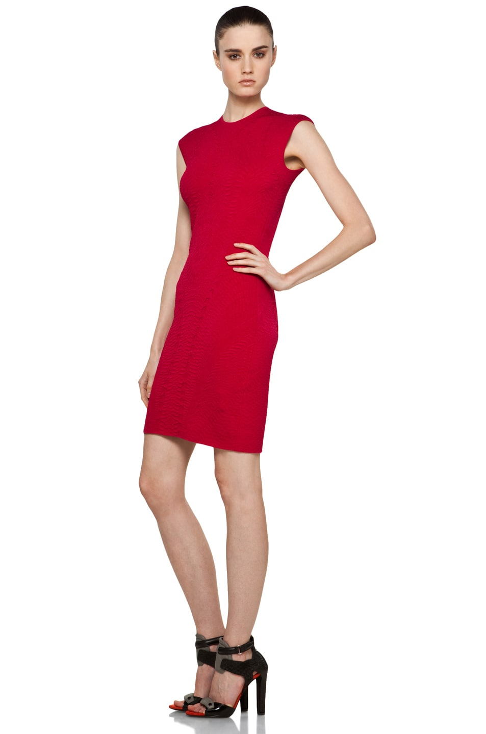 Image 2 of Alexander McQueen Cap Sleeve Mini Dress in Raspberry