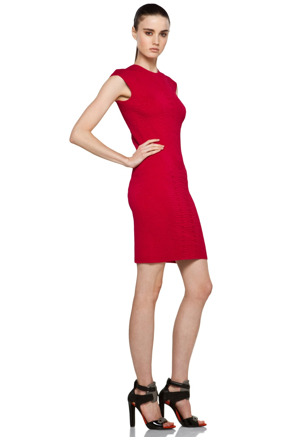 Image 3 of Alexander McQueen Cap Sleeve Mini Dress in Raspberry