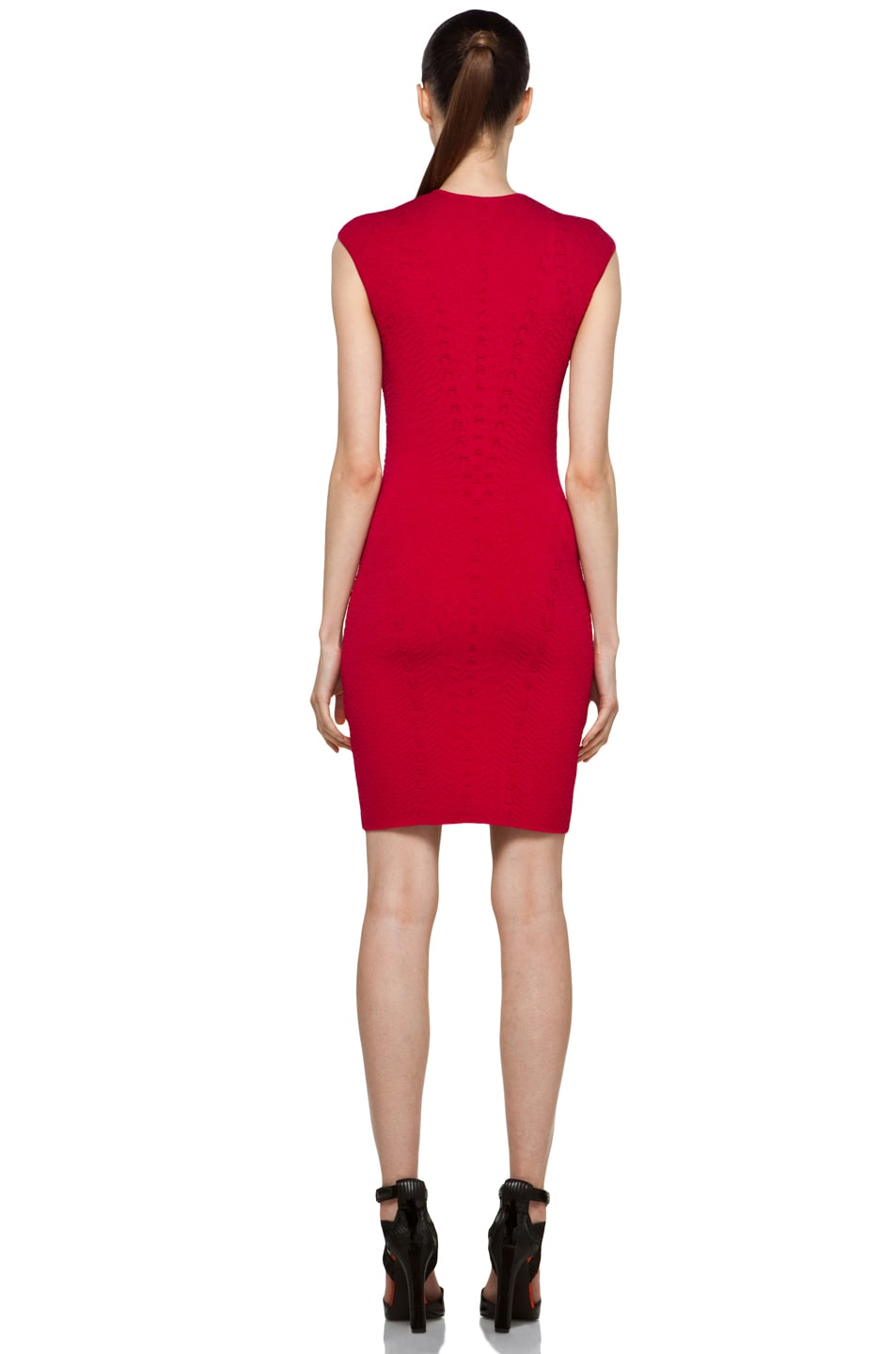 Image 4 of Alexander McQueen Cap Sleeve Mini Dress in Raspberry