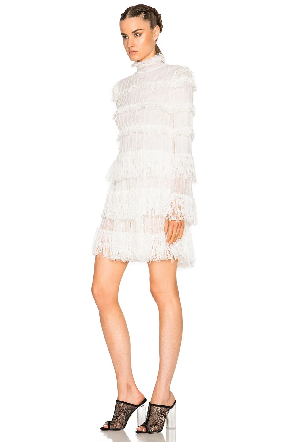 Image 2 of Alexander McQueen A Line Ruffle Mini Dress in Ivory