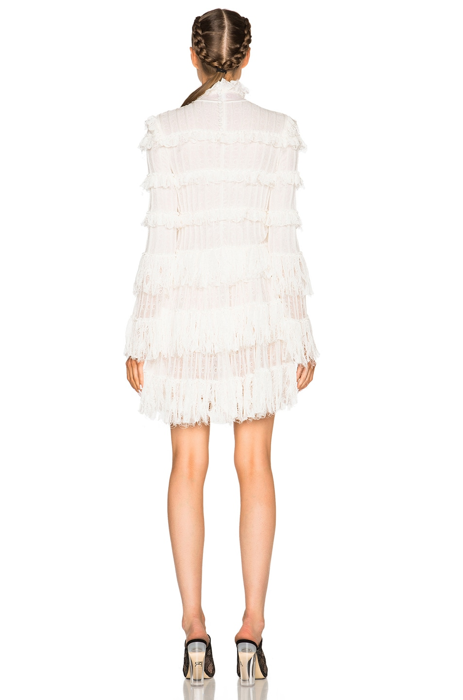 Image 4 of Alexander McQueen A Line Ruffle Mini Dress in Ivory
