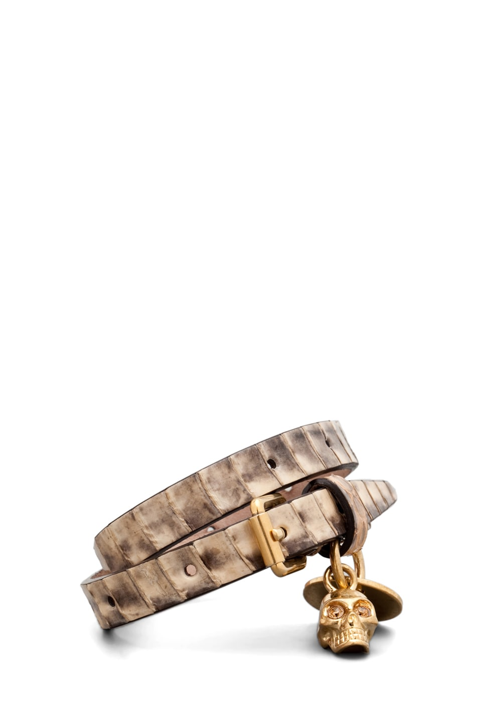 Image 1 of Alexander McQueen Skull Charm Leather Wrap Bracelet in Sand Snake