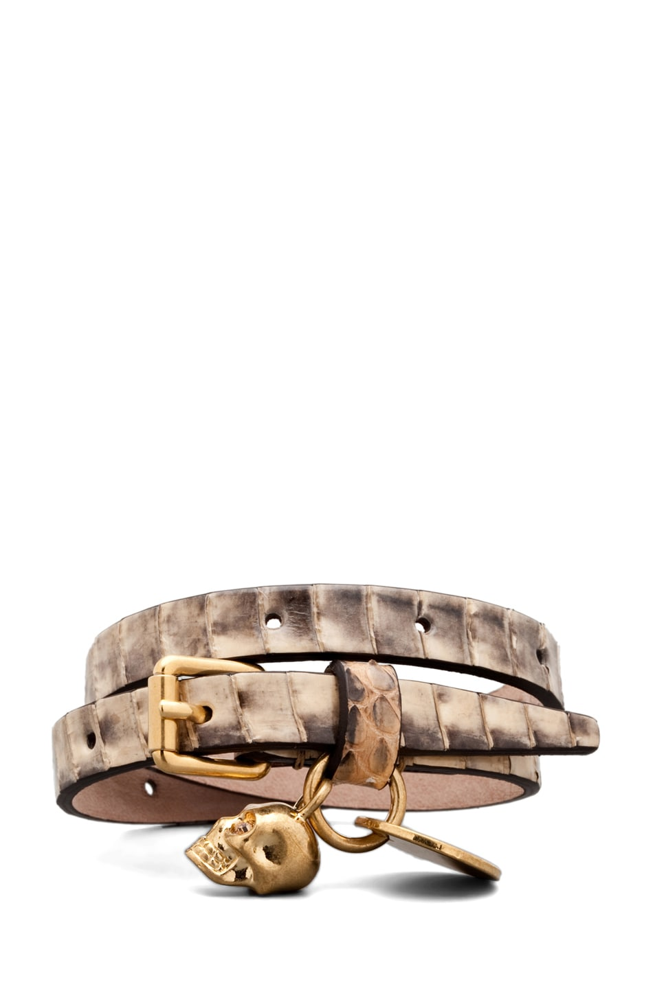 Image 2 of Alexander McQueen Skull Charm Leather Wrap Bracelet in Sand Snake
