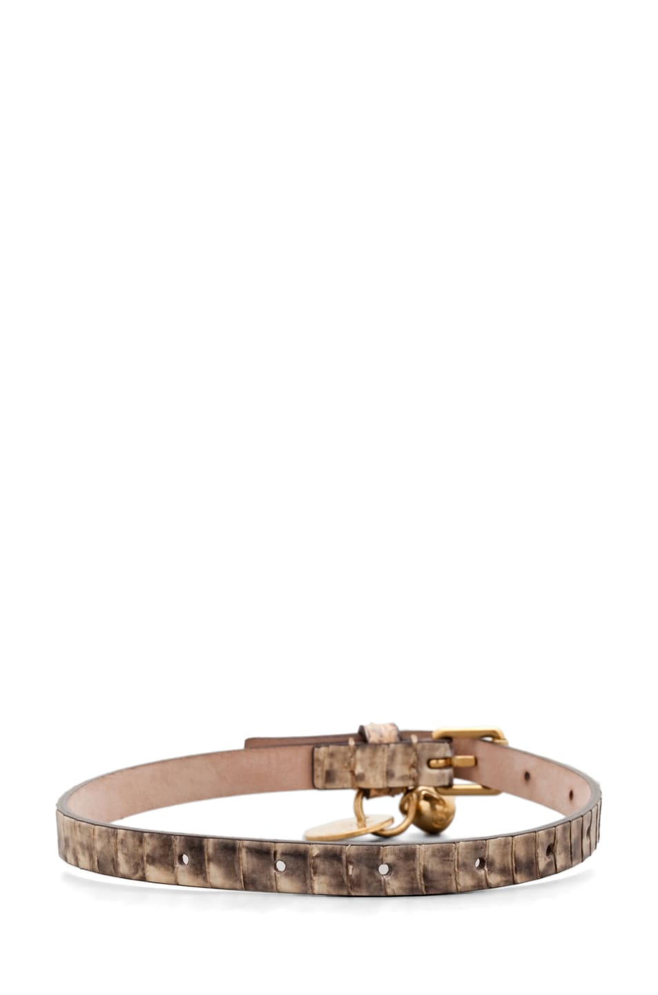 Image 4 of Alexander McQueen Skull Charm Leather Wrap Bracelet in Sand Snake
