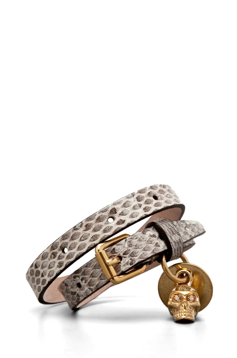 Image 1 of Alexander McQueen Skull Charm Leather Wrap Bracelet in Tonal Ayers