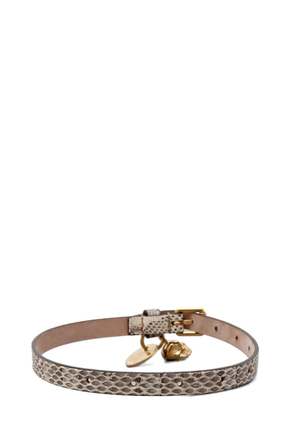 Image 3 of Alexander McQueen Skull Charm Leather Wrap Bracelet in Tonal Ayers