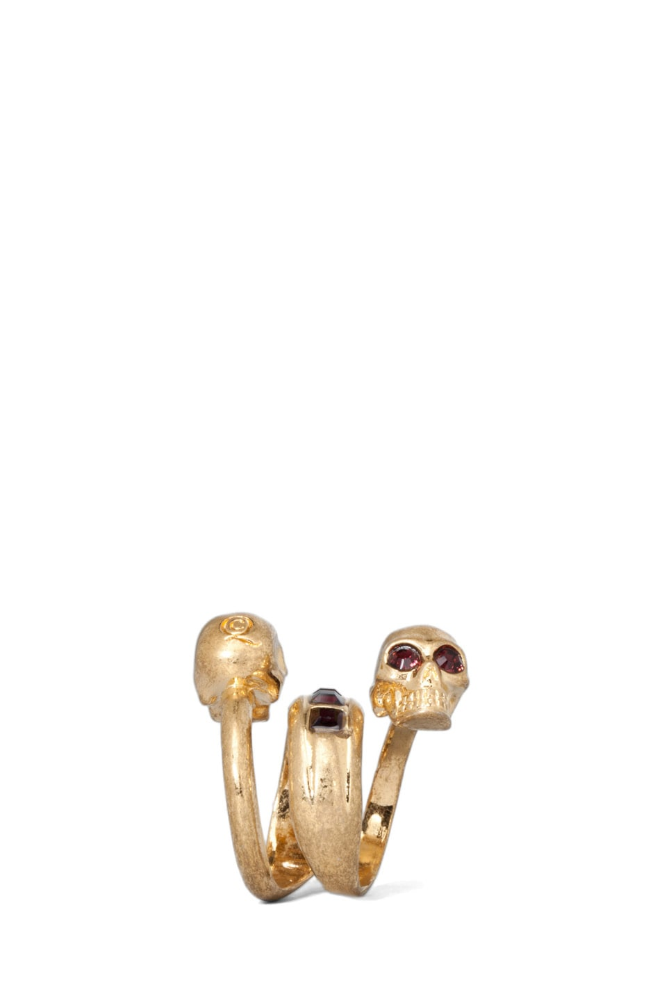 Image 3 of Alexander McQueen Twin Skull Brass Ring in Old Gold & Burgundy