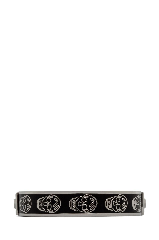 Image 1 of Alexander McQueen Small Enamel Skull Cuff Black