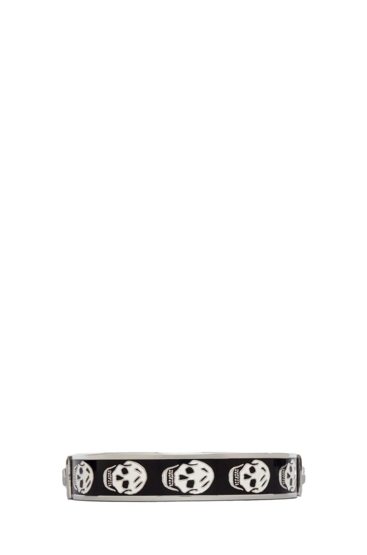 Image 1 of Alexander McQueen Small Enamel Skull Cuff in Black