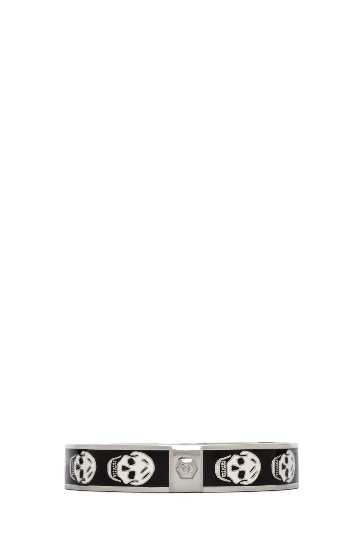 Image 2 of Alexander McQueen Small Enamel Skull Cuff in Black