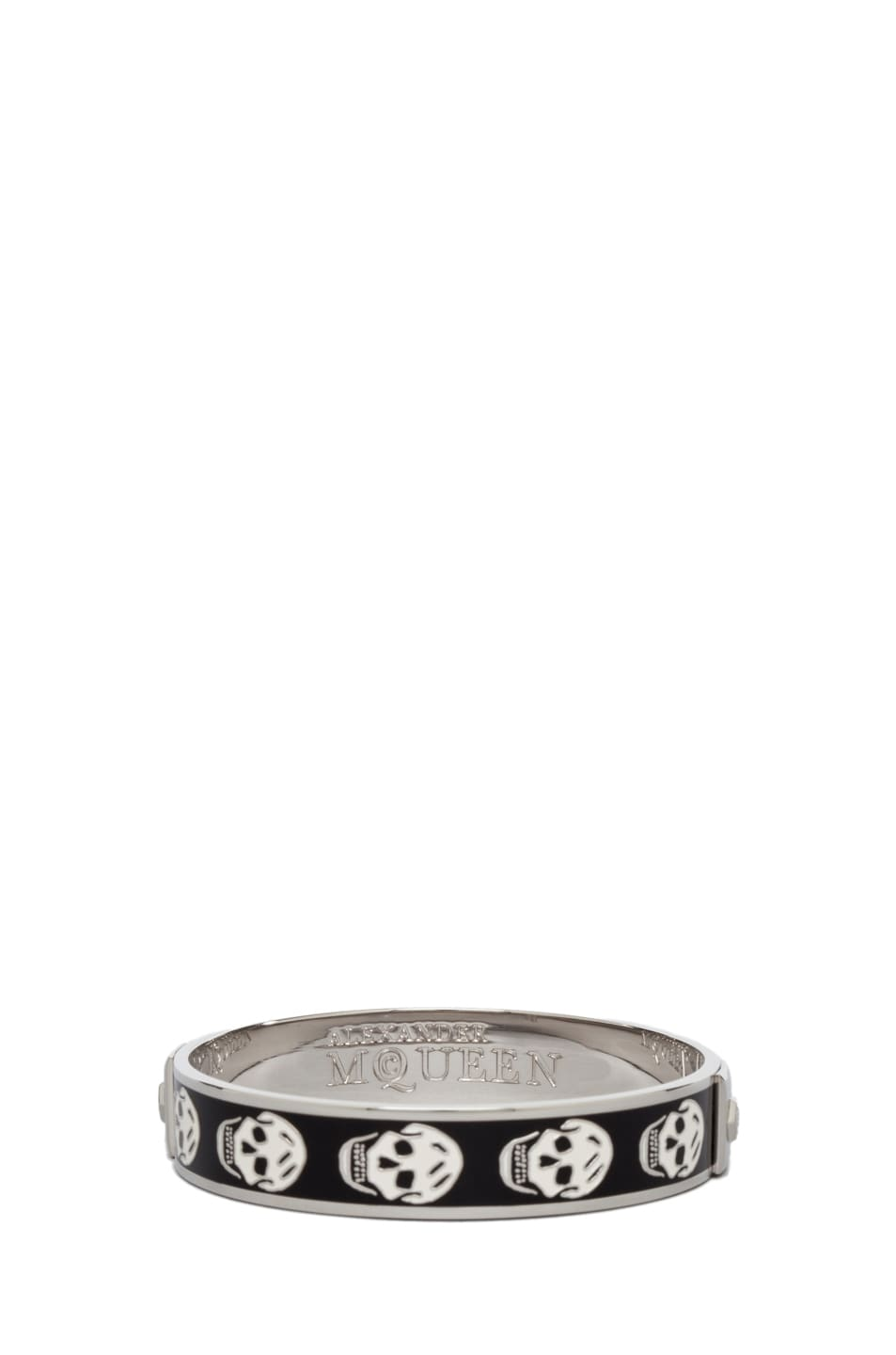 Image 3 of Alexander McQueen Small Enamel Skull Cuff in Black