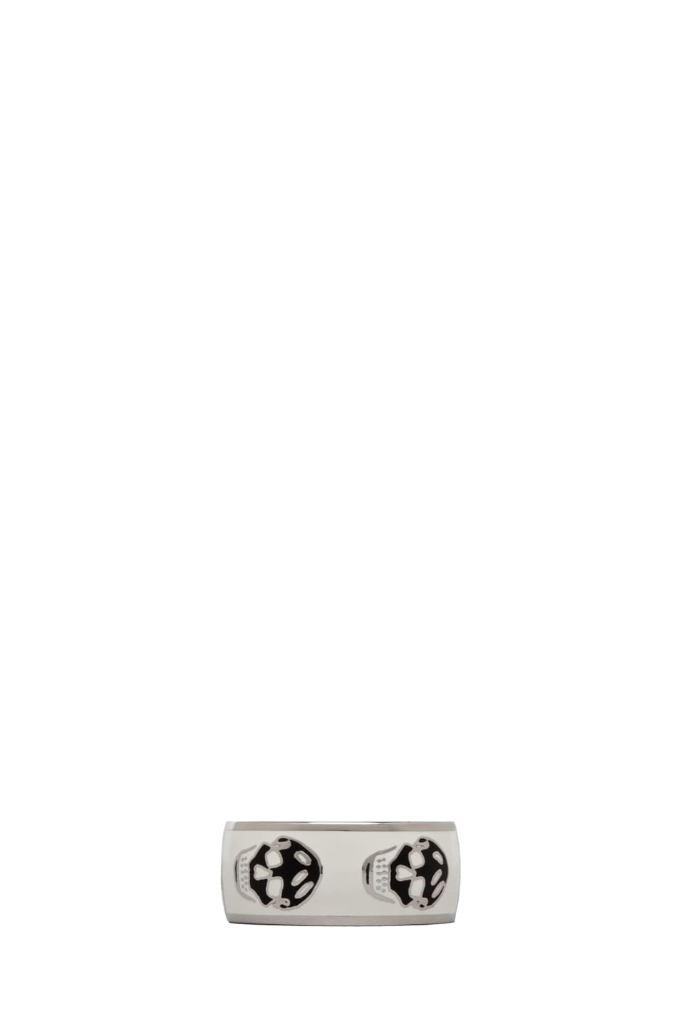 Image 1 of Alexander McQueen Enamel Ring in White & Black