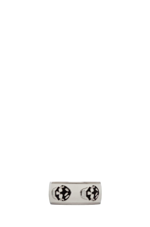 Image 1 of Alexander McQueen Enamel Ring in White & Black