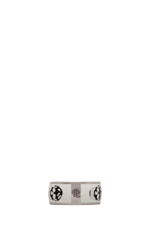 Image 2 of Alexander McQueen Enamel Ring in White & Black