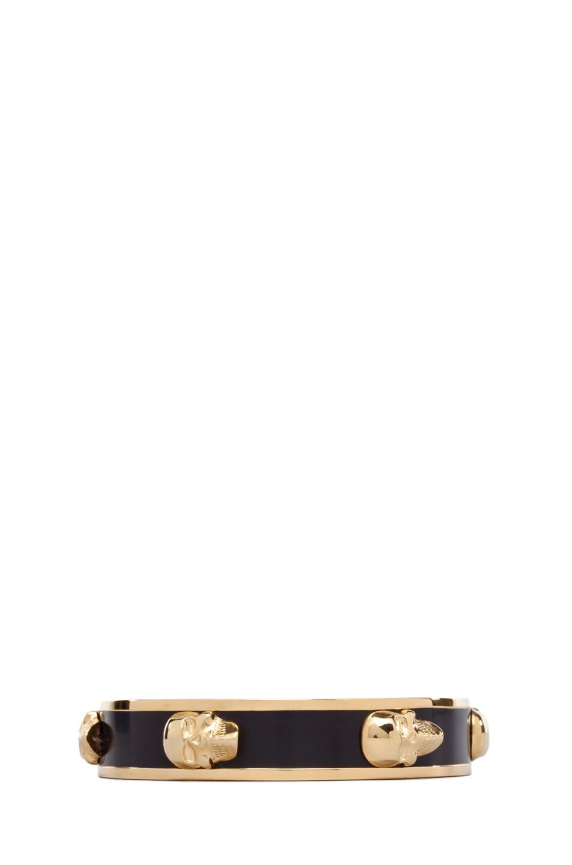 Image 1 of Alexander McQueen 3D Enamel Skull Bracelet in Aubergine