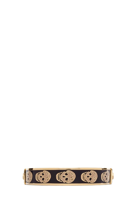 Image 1 of Alexander McQueen Small Enamel Skull Cuff in Aubergine & Camel