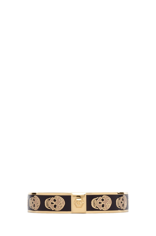 Image 2 of Alexander McQueen Small Enamel Skull Cuff in Aubergine & Camel
