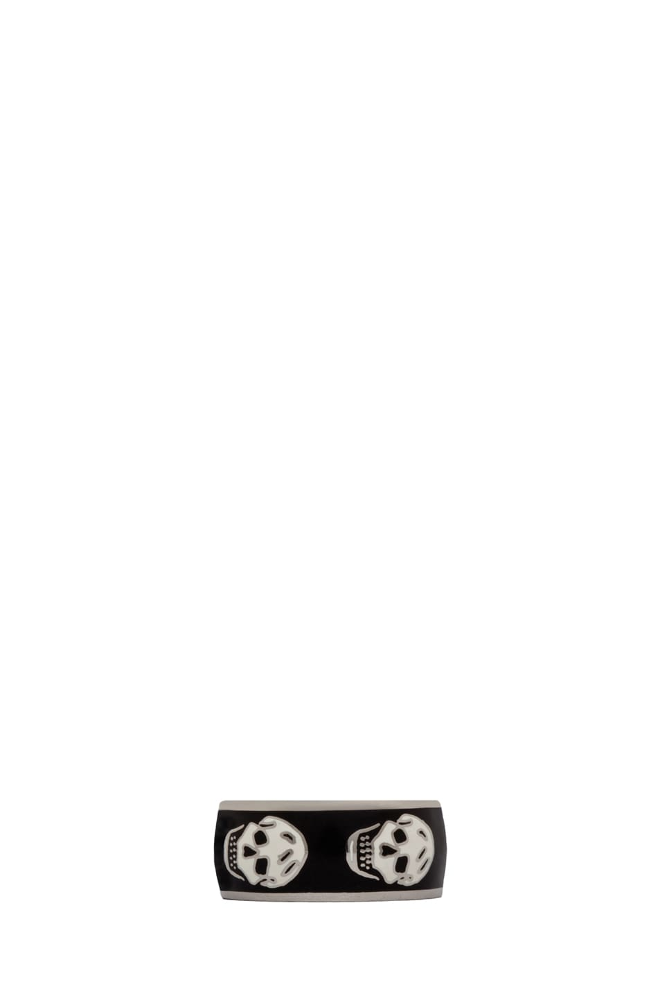 Image 1 of Alexander McQueen Enamel Ring in Black & White