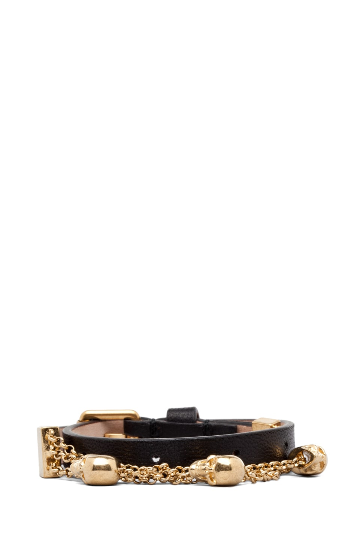 Image 1 of Alexander McQueen Double Wrap Bracelet in Black