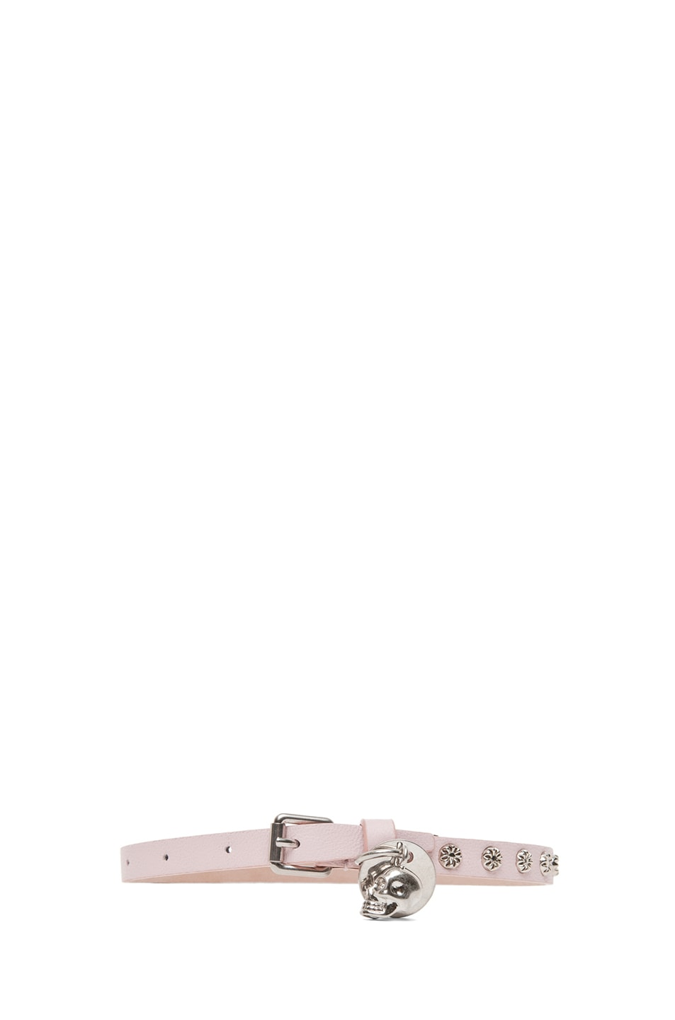 Image 2 of Alexander McQueen Double Wrap Skull Studded Bracelet in Ice Pink