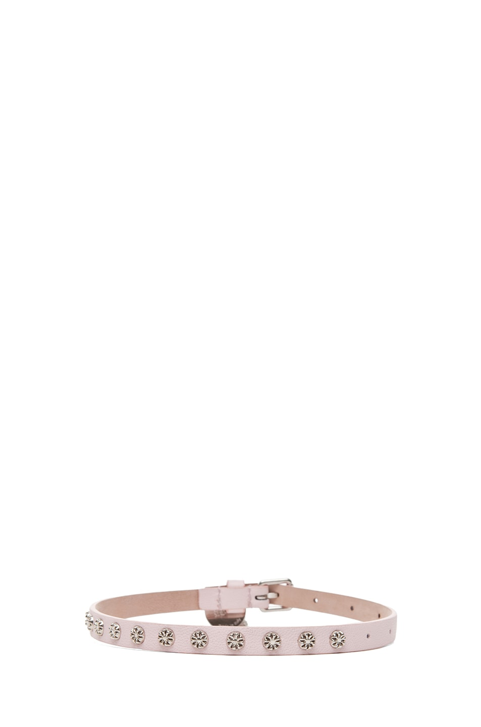 Image 3 of Alexander McQueen Double Wrap Skull Studded Bracelet in Ice Pink