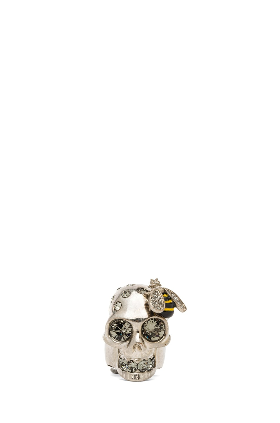 Image 1 of Alexander McQueen Skull Metal Cocktail Ring in Black Diamond