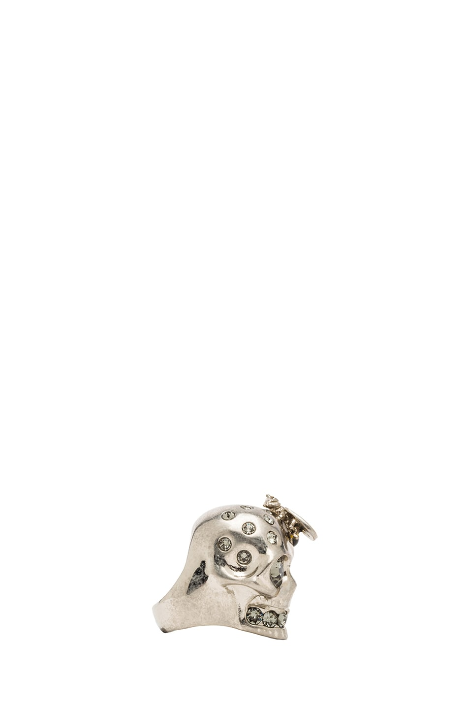 Image 2 of Alexander McQueen Skull Metal Cocktail Ring in Black Diamond