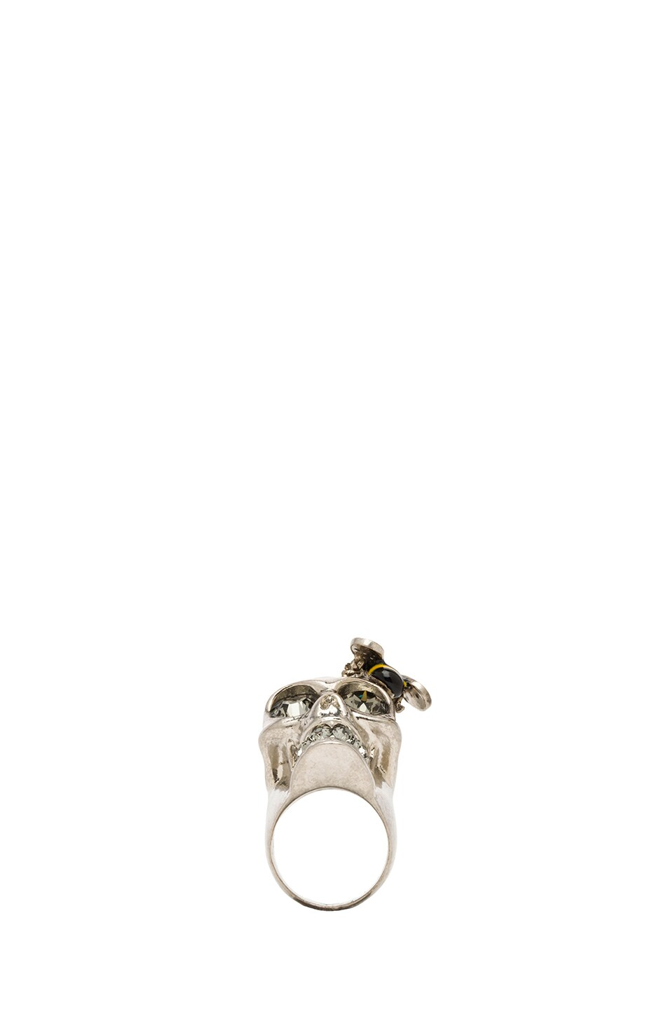 Image 4 of Alexander McQueen Skull Metal Cocktail Ring in Black Diamond