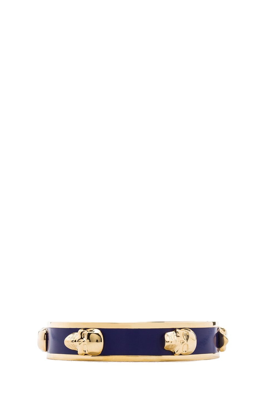 Image 2 of Alexander McQueen 3D Enamel Skull Bangle in Gold & Royal Blue