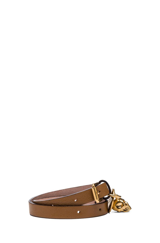 Image 2 of Alexander McQueen Double Wrap Calfskin Bracelet in Camel