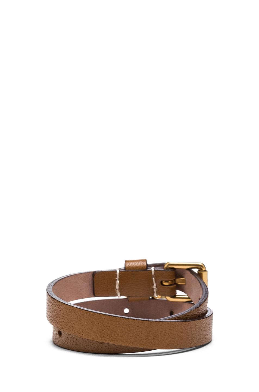 Image 3 of Alexander McQueen Double Wrap Calfskin Bracelet in Camel