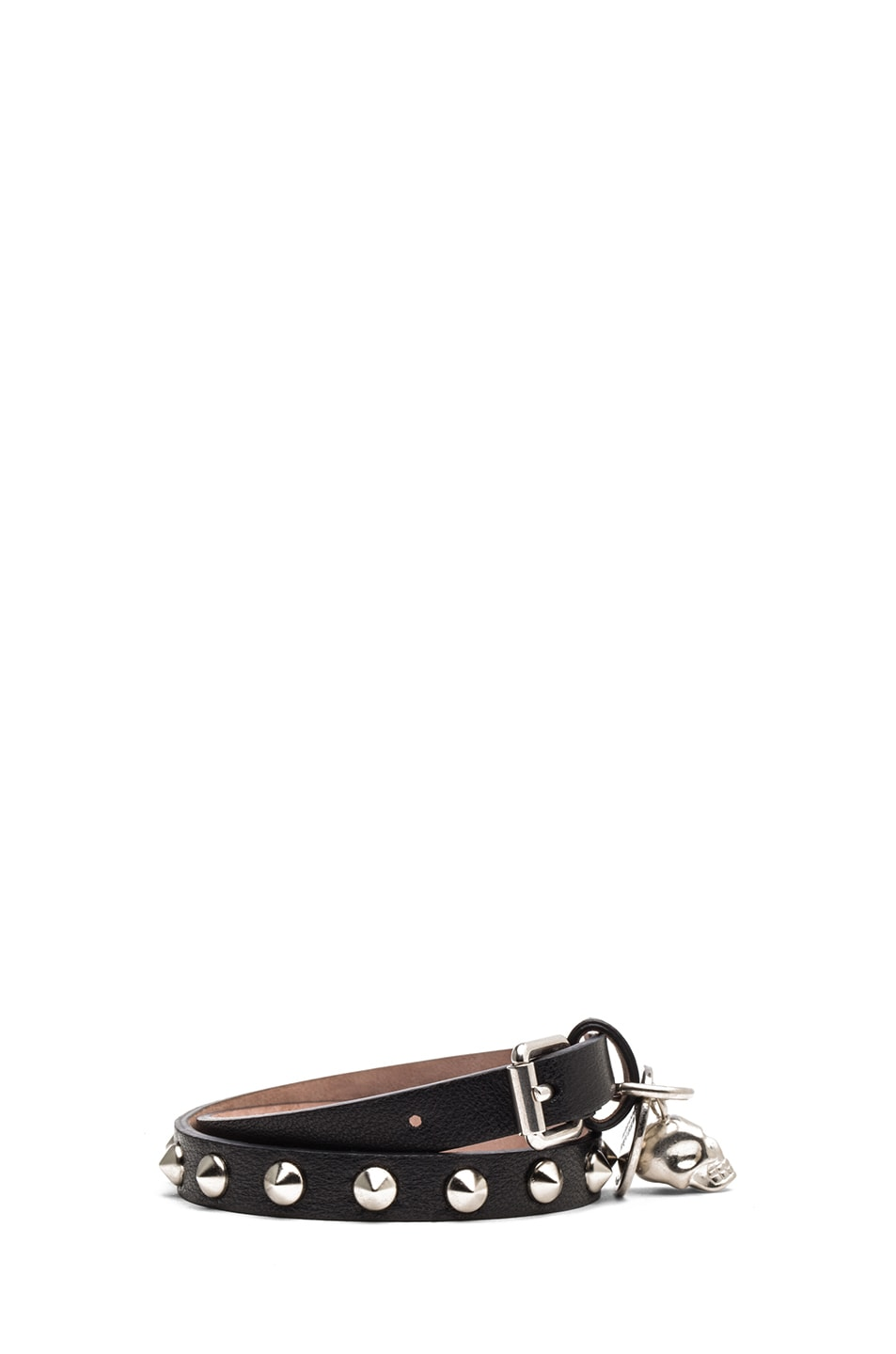 Image 2 of Alexander McQueen Double Wrap Calfskin Bracelet in Black