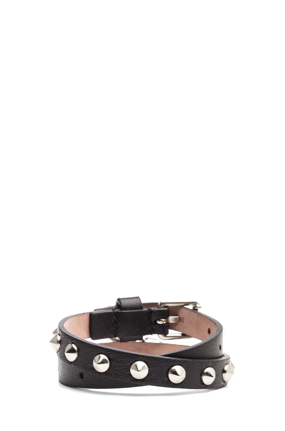 Image 3 of Alexander McQueen Double Wrap Calfskin Bracelet in Black