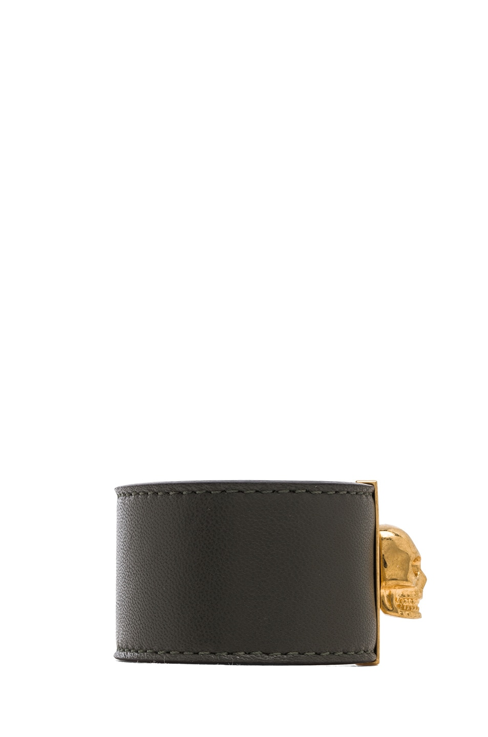 Image 2 of Alexander McQueen Skull Leather Cuff in Military